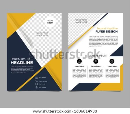 Business flyer with two sides. cover, brochure or magazine layout. yellow template, annual report a4 size