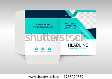Business folder for files, design. The layout is for posting information about the company, photo, text.