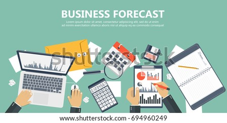Business forecast banner. Flat vector illustration