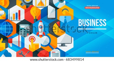 Business forum creative banner. Vector illustration. Flat design icons in hexagons. Concept for web and promotional materials