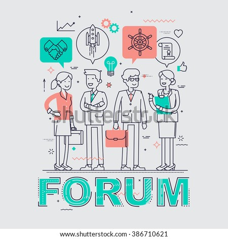 Business forum event flat line concept background. Ideal for posters, website banners and flyers. Linear concept design on business forum, congress, discussion, conference or meeting