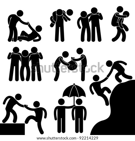 Business Friend Helping Each Other Icon Symbol Sign Pictogram - stock vector