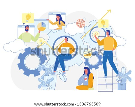 Business Gears. Teamwork and Partnership Concept. Office Team Working. Startup Success Strategy. Boost and Achievement. Business Goal. Professional Growth. Cooperation and Efforts. Vector EPS 10.