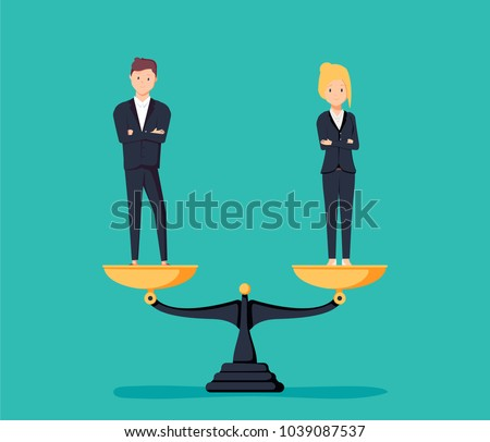 Business gender equality vector concept with businessman and businesswoman on scales on the same height. Symbol of equal pay, salary, fairness and justice and emancipation. Eps10 vector illustration.