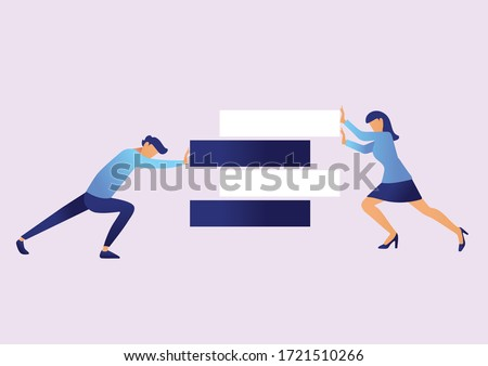Business gender equality vector concept with businessman and businesswoman taking action for equality with the symbol of equal in between them.Symbol of equal pay ,salary, fairness and justice .