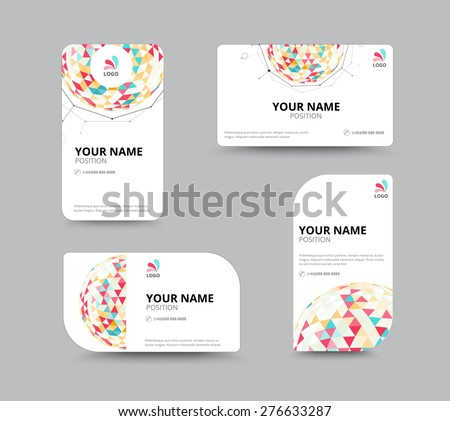Business geometry low polygon on white background. business card template. vector illustration