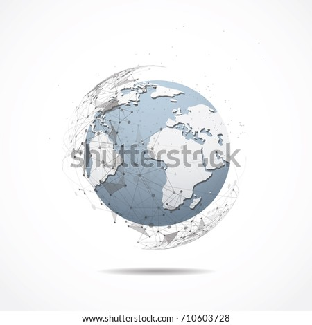 Business global network connection. World map point and line composition concept of global business. Vector Illustration