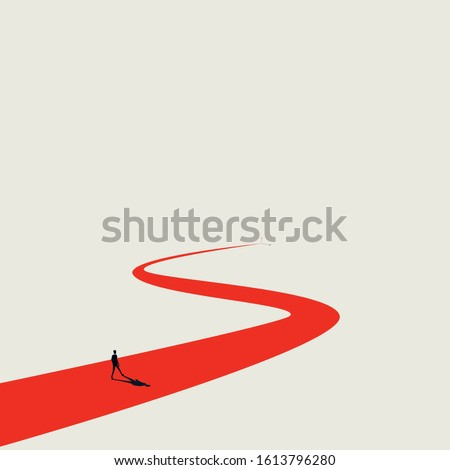 Business goal or objective vector concept with businessman walking winding path. Symbol of ambition, motivation and long road ahead. New opportunitites concept. Eps10 illustration.