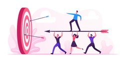 Business Goals Achievement Concept. Businesspeople Team Carry Huge Arrow with Businessman Standing on it Running to Huge Target. Aim Mission Challenge Task Solution. Cartoon Flat Vector Illustration