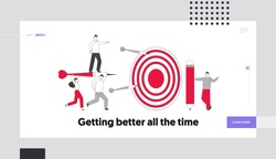Business Goals Achievement Landing Page Template. Businesspeople Team Carry Huge Darts with Businessman Character Stand on it Running to Huge Target, Aim Mission. Linear People Vector Illustration