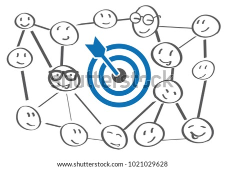 Business Goals Concept - teamwork, cooperation and partnership vector illustration