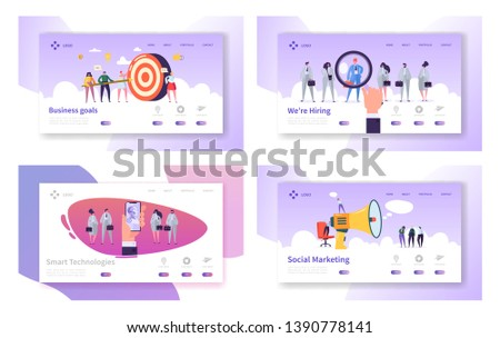 Business Goals, Smart Technologies, Hiring, Social Marketing Website Landing Page Templates Set. Business Target, Employees Research, Ai in Life Web Page. Cartoon Flat Vector Illustration, Banner