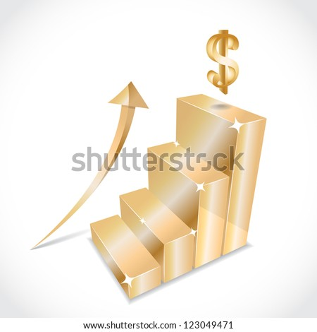 Business golden graph with rising equity arrow, illustration #123049471