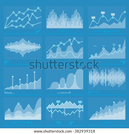 Business Graph Analysis Statistic Data Set Marketing. Analysis Histogram Vector  Infographics. Banner Graph Information Business Chart Illustration Graph Statistic Sound Wave Data Background Histogram