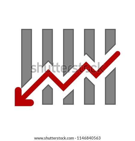 business graph, financial profit loss. decline chart