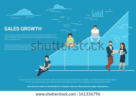 Business graph growth concept illustration of professional people working together as team and sitting on chart. Flat people working with laptops to develop business. Blue background with copy space