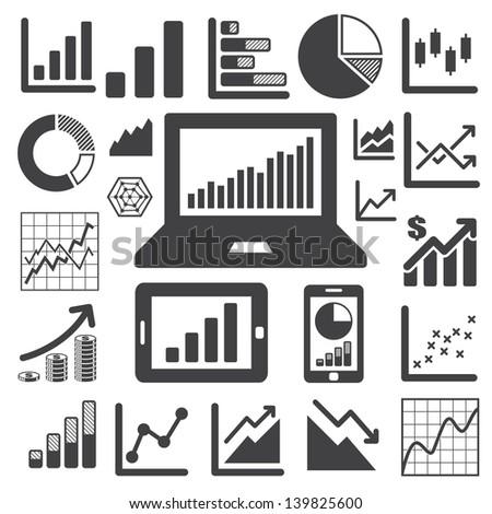 Business Graph icon set.Illustration eps10