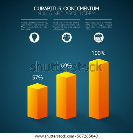 Business graph infographics with 3d orange columns three options icons and percent rates isolated vector illustration