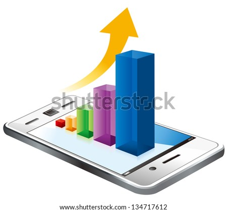 business graph on the screen vector