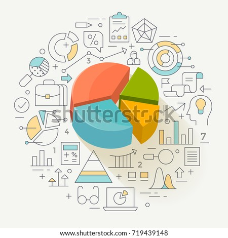 Business graph statistics, data analysis, financial report, market stats concept illustration, line flat design