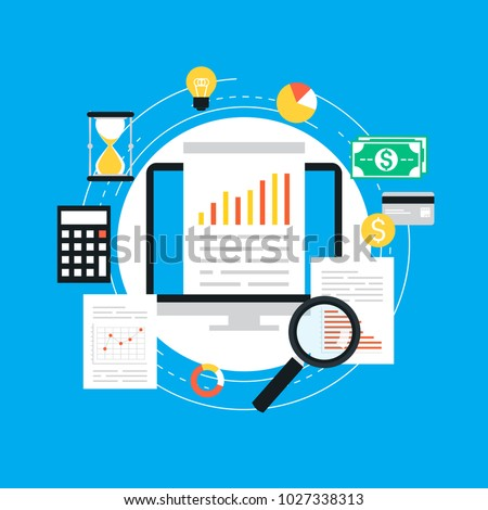 Business graph statistics flat vector illustration design. Business data analysis, seo analytics, financial report, market stats, infographic elements. Design for web banners and apps