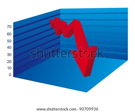 business graph with arrow down over white background. vector