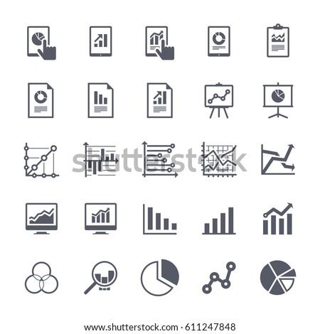 Business Graphs & Charts Icons Set 1 - Black Version