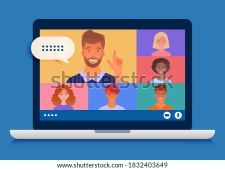 Business group meeting being held via video conference using laptop computer chatting with colleagues online. Vector illustration. Stockfoto ©