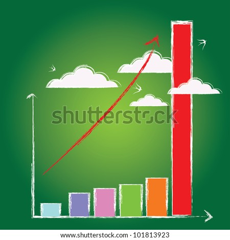 Business growth bar graph ,and clouds,Vector