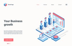 Business growth isometric vector illustration. Cartoon businessman character standing with workstation, using graphical interface to success solve business work problem, increase profit landing page