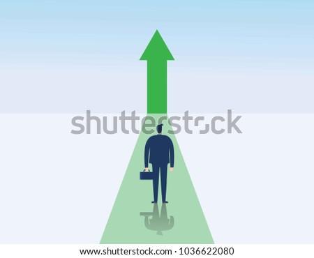 Business growth vector concept.man walking towards upwards arrow.Symbol of success, promotion,career development.Vector flat cartoon character design illustration.