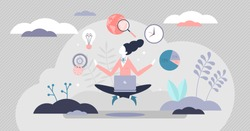 Business guru female with professional schedule management elements tiny persons concept. Woman as company leader and mentor with calm and precise work vector illustration. Abstract modern meditation.