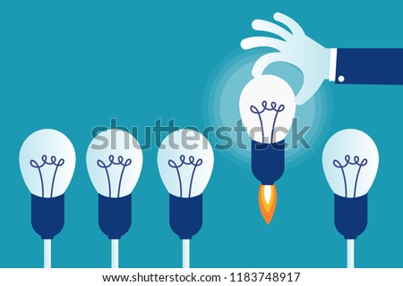 Business hand choosing the best startup idea concept. Hand selects the ligting and going up rocket bulb from all bulbs. Eps 10 Vector illustration, Minimalist white blue flat style modern design. Foto d'archivio ©