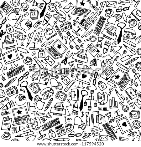 Business hand drawn background, vector. Doodle office pattern