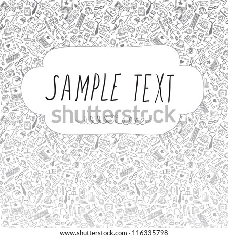 Business hand drawn background, vector. Doodle stylish office pattern
