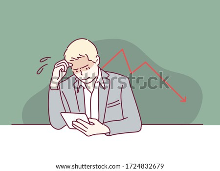 Business hand hold tablet with disappointed down financial graph. Hand drawn style vector design illustrations.