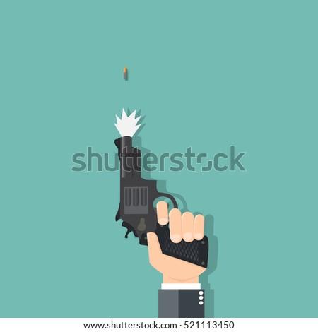 business hand holding a gun