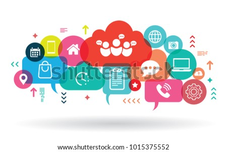 Business hand holding mobile phone with icons. Application abstract network
