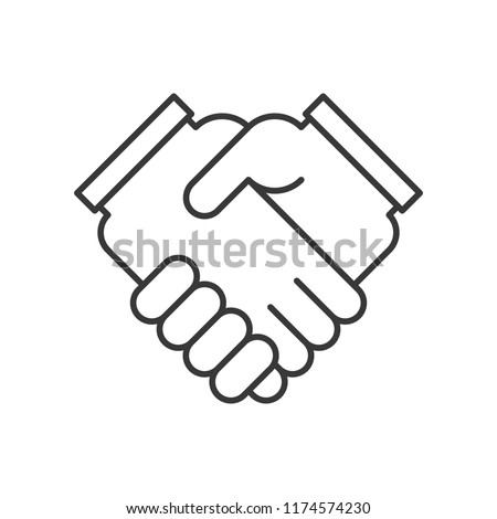 business hand or handshake icon, deal and meeting concept, editable stroke outline