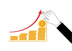 Business hand pointing with high graph of golden coin stacks.business investment concept