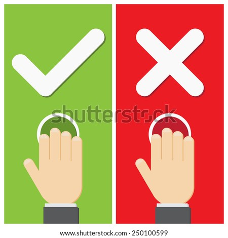 Business hand press button with true and false sign. Vector illustration of positive and negative.