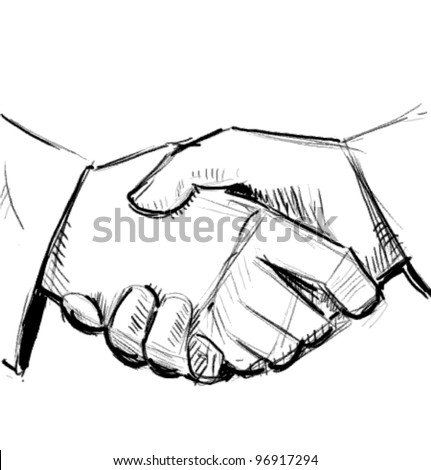 Business hand shake between two colleagues. Sketch vector illustration