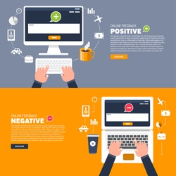 Business hand text to keyboard computer. Vector illustration of positive and negative feedback concept. Minimal and flat design