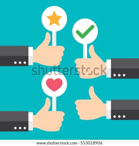 Business hand thumb up with customer review give positive feedback. good feedback concept. Vector illustration. Minimal and flat design.