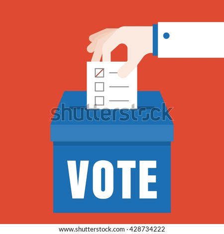 business hand vote for election concept vector, flat design