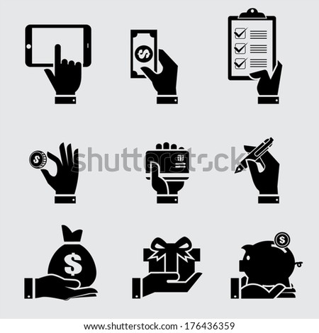 Business hand with object icons set Vector illustration