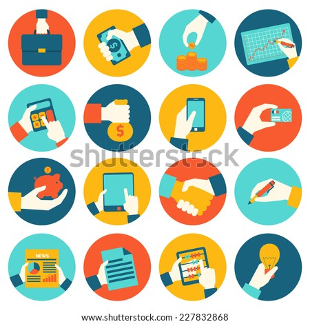 Business hands holding briefcase money coin graph financial icons set isolated vector illustration