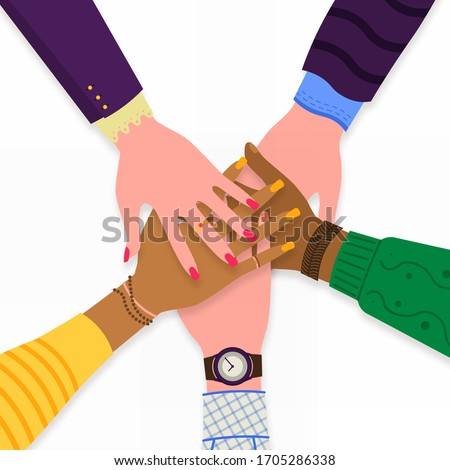 Business hands team work. Friends with stack of hands showing unity and teamwork, top view. Business, collaboration and partnership. No to racism. Vector illustration, EPS 10.