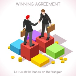 Business handshake agreement. Partnership Isometric infographic.Sales lead People Isometric 3D Flat Vector Icon. Insights for Presentations or Report Last Slide