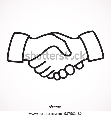 Business handshake, contract agreement line art icon for apps and websites